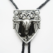 New Classic Vintage Black Enamel Long Horn Bull Western Bolo Tie Wedding Leather Necklace