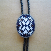New American Southwest Pattern Totem Oval Wedding Bolo Tie Leather Necklace Necktie