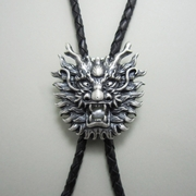 New Silver Plated Vintage Real White Pearl Dragon Bolo Tie