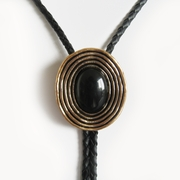 Original Antique Gold Plated Nature Black Obsidian Bolo Tie