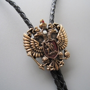 Original Antique Gold Russian Double Headed Empire Eagle Rhinestone Bolo Tie Necklace