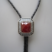 Original Antique Silver Plated Vintage Red Agate Octagon Celtic Bolo Tie