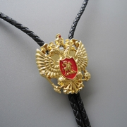 Original Gold Plated Russian Double Headed Empire Eagle Rhinestone Bolo Tie Necklace