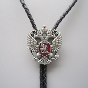 Original Russian Double Headed Empire Eagle Rhinestone Bolo Tie Necklace