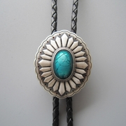 New Jeansfriend Original Silver Plated Celtic Oval Enamel Wedding Bolo Tie Leather Necklace