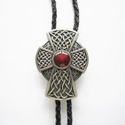 New Vintage Silver Plated Celtic Red Enamel Iron Cross Knot Wedding Bolo Tie