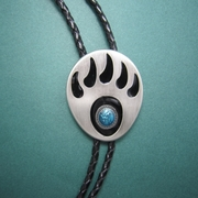 Silver Plated Western Bear Paw Bolo Tie