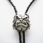 New 3D British Bull Dog Bolo Tie Wedding Leather Necklace