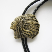 Vintage Bronze Plated Western Indian Chief Bolo Tie Wedding Leather Necklace