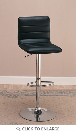 2 Black Adjustable Metal Bar Stools Chairs by Coaster - 120344
