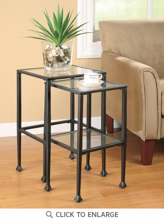 2 Piece Black Metal and Glass Nesting Tables by Coaster - 901073