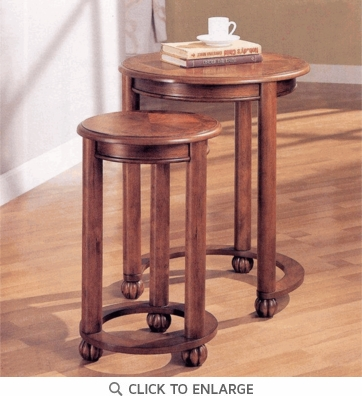 2 Piece Nesting Tables in Warm Cherry by Coaster - 901039