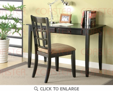 2 Piece Writing Desk & Chair Set in a Black Finish by Coaster - 800779