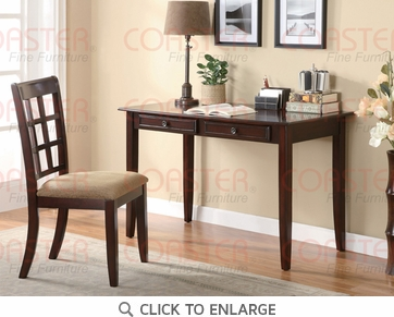 2 Piece Writing Desk & Chair Set in a Rich Cherry Finish by Coaster - 800780