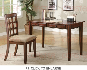 2 Piece Writing Desk & Chair Set in a Warm Cherry Finish by Coaster - 800778