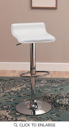 2 White Adjustable Height Bar Stools Chairs by Coaster - 120391
