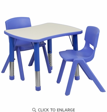 21.875''W x 26.625''L Adjustable Rectangular Blue Plastic Activity Table Set with 2 School Stack Chairs