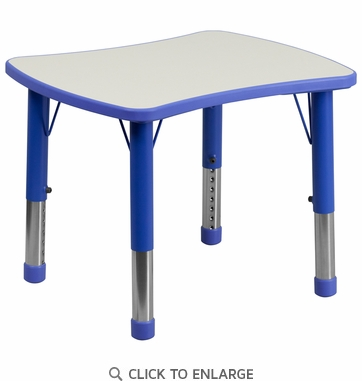 21.875''W x 26.625''L Height Adjustable Rectangular Blue Plastic Activity Table with Grey Top