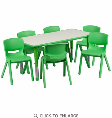 23.625''W x 47.25''L Adjustable Rectangular Green Plastic Activity Table Set with 6 School Stack Chairs