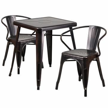 23.75'' Square Black-Antique Gold Metal Indoor-Outdoor Table Set with 2 Arm Chairs [CH-31330-2-70-BQ-GG]