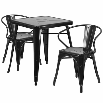 23.75'' Square Black Metal Indoor-Outdoor Table Set with 2 Arm Chairs [CH-31330-2-70-BK-GG]