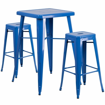 23.75'' Square Blue Metal Indoor-Outdoor Bar Table Set with 2 Square Seat Backless Barstools [CH-31330B-2-30SQ-BL-GG]
