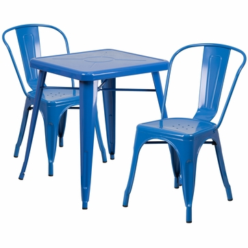 23.75'' Square Blue Metal Indoor-Outdoor Table Set with 2 Stack Chairs [CH-31330-2-30-BL-GG]