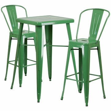 23.75'' Square Green Metal Indoor-Outdoor Bar Table Set with 2 Barstools with Backs [CH-31330B-2-30GB-GN-GG]