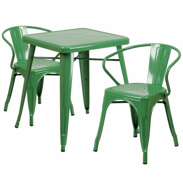 23.75'' Square Green Metal Indoor-Outdoor Table Set with 2 Arm Chairs [CH-31330-2-70-GN-GG]