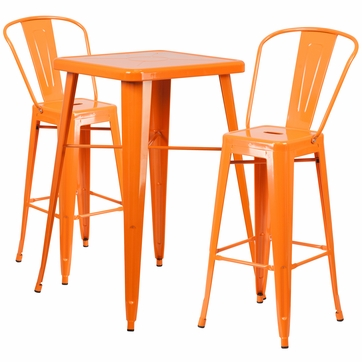 23.75'' Square Orange Metal Indoor-Outdoor Bar Table Set with 2 Barstools with Backs [CH-31330B-2-30GB-OR-GG]