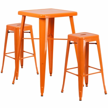 23.75'' Square Orange Metal Indoor-Outdoor Bar Table Set with 2 Square Seat Backless Barstools [CH-31330B-2-30SQ-OR-GG]