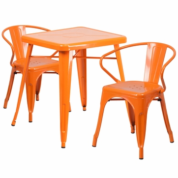 23.75'' Square Orange Metal Indoor-Outdoor Table Set with 2 Arm Chairs [CH-31330-2-70-OR-GG]