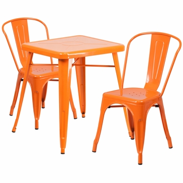 23.75'' Square Orange Metal Indoor-Outdoor Table Set with 2 Stack Chairs [CH-31330-2-30-OR-GG]