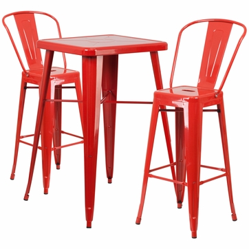 23.75'' Square Red Metal Indoor-Outdoor Bar Table Set with 2 Barstools with Backs [CH-31330B-2-30GB-RED-GG]