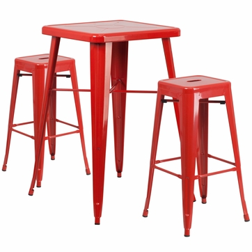 23.75'' Square Red Metal Indoor-Outdoor Bar Table Set with 2 Square Seat Backless Barstools [CH-31330B-2-30SQ-RED-GG]