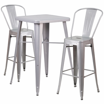 23.75'' Square Silver Metal Indoor-Outdoor Bar Table Set with 2 Barstools with Backs [CH-31330B-2-30GB-SIL-GG]