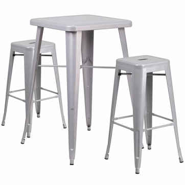 23.75'' Square Silver Metal Indoor-Outdoor Bar Table Set with 2 Square Seat Backless Barstools [CH-31330B-2-30SQ-SIL-GG]