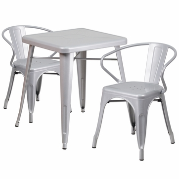 23.75'' Square Silver Metal Indoor-Outdoor Table Set with 2 Arm Chairs [CH-31330-2-70-SIL-GG]