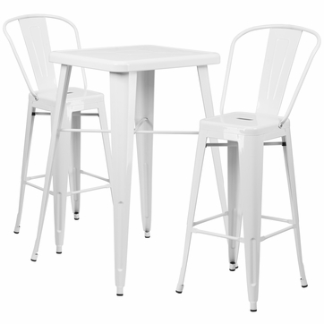23.75'' Square White Metal Indoor-Outdoor Bar Table Set with 2 Barstools with Backs [CH-31330B-2-30GB-WH-GG]