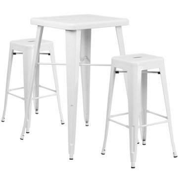 23.75'' Square White Metal Indoor-Outdoor Bar Table Set with 2 Square Seat Backless Barstools [CH-31330B-2-30SQ-WH-GG]