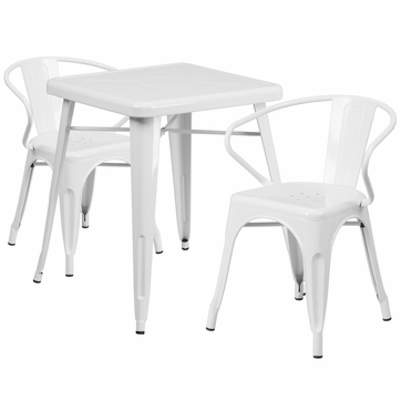 23.75'' Square White Metal Indoor-Outdoor Table Set with 2 Arm Chairs [CH-31330-2-70-WH-GG]