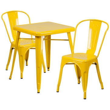 23.75'' Square Yellow Metal Indoor-Outdoor Table Set with 2 Stack Chairs [CH-31330-2-30-YL-GG]