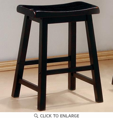 24 Inch Black Heavy Backless Bar Stool (Set of 2) by Coaster - 180019