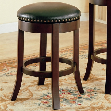 24 Inch Cherry Backless Swivel Counter Bar Stool (Set of 2)  by Coaster - 101059
