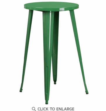 24'' Round Green Metal Indoor-Outdoor Bar Height Table [CH-51080-40-GN-GG]