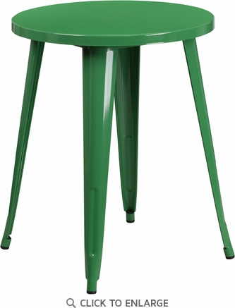 24'' Round Green Metal Indoor-Outdoor Table [CH-51080-29-GN-GG]