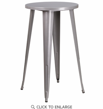 24'' Round Silver Metal Indoor-Outdoor Bar Height Table [CH-51080-40-SIL-GG]