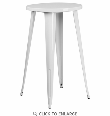 24'' Round White Metal Indoor-Outdoor Bar Height Table [CH-51080-40-WH-GG]