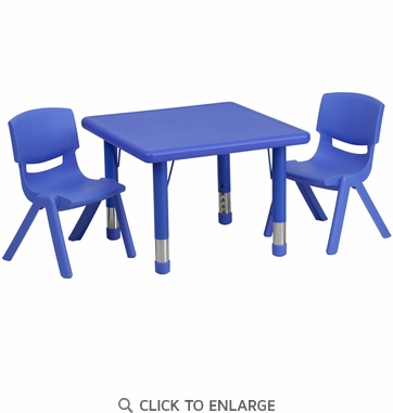 24'' Square Adjustable Blue Plastic Activity Table Set with 2 School Stack Chairs
