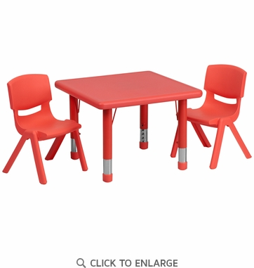 24'' Square Adjustable Red Plastic Activity Table Set with 2 School Stack Chairs